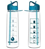 DRINK PURE Motivational Water Bottle with Time Marker Sports Water Bottle 900ml
