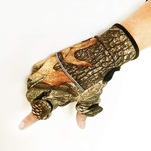 Outdoor Bionic Camouflage Full Gloves Hunting Leaf Camouflage Gloves Mitten Two Fingers Anti-Slip Riding Gloves,b,XL