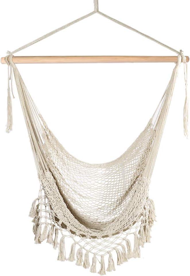 Hammock Chair Swing Hanging Rope Cotton Round Macrame Indoor Outdoor Uk