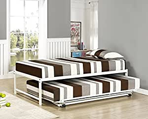 Amazon Com Kings Brand Furniture Twin Size White Metal