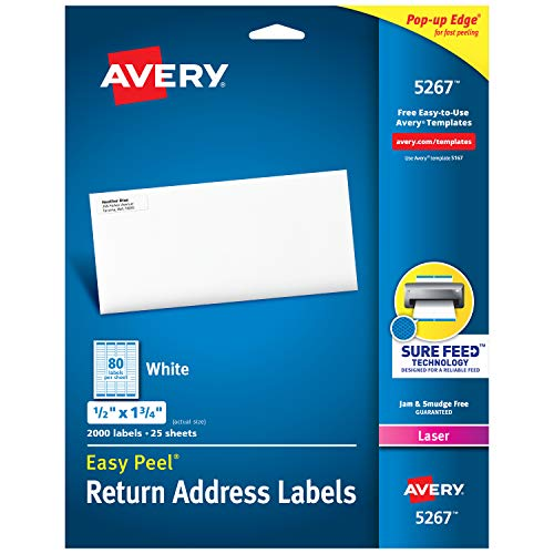 - Avery Address Labels with Sure Feed for Laser Printers, 0.5