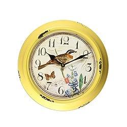 Asense Yellow Iron Round Wall Clock with Bird