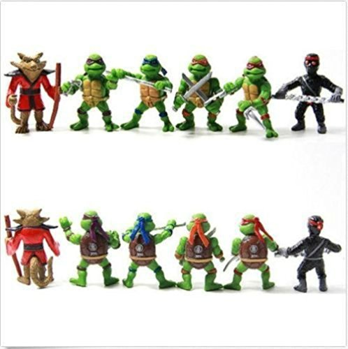 Ninja Turtles Figures (6 pcs Teenage Mutant Ninja Turtles Figures Cake Decoration Set Birthday Topper)