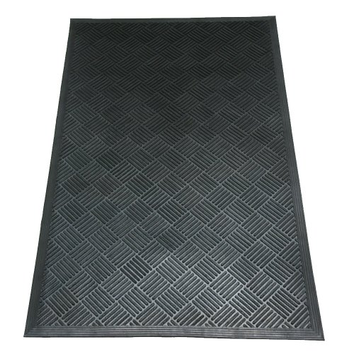 Rubber-Cal 03-235-CH 'DuraScraper Checkered' Commercial Rubber Entrance Mat, 3/8' Thick x 3' x 5', Black