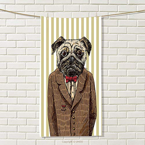 - smallbeefly Pug Sports Towel Hand Drawn Sketch of Smart Dressed Dog Jacket Shirt Bow Suit Striped Background Absorbent Towel Brown Pale Brown Size: W 35.5