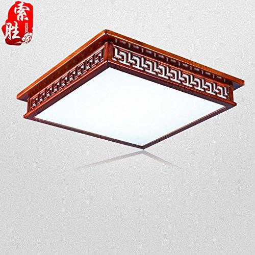 BLYC- Solide Holz chinesische dimmbare Licht/LED rechteckig minimalistischen Wohnzimmer Lampe Schlafzimmer Studie Deckenleuchte 550 * 550mm
