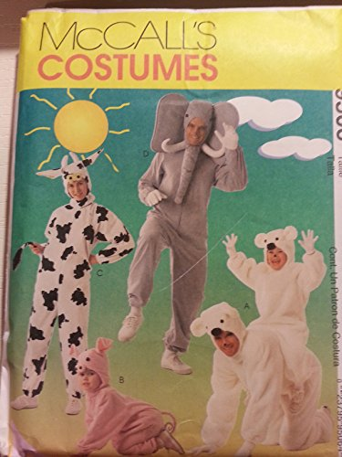 McCall's 9506 Adult Animal Costumes-Jumpsuit with HeadPiece Size Y (Small-Medium)