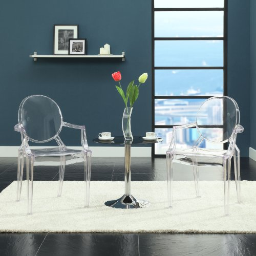Modway Casper Modern Acrylic Dining Armchairs in Clear – Set of 2