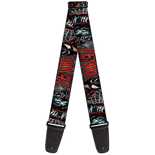 Buckle-Down 2 Inches Wide Marvel Universe Guitar Strap-Venom Action Capital Punishment Cover Pose/Web Black/White/Red (GS-WVN008) ()