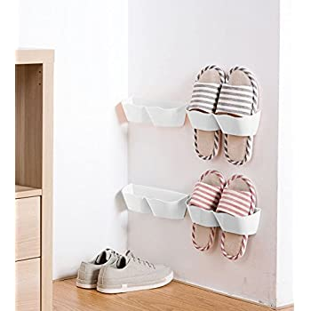 Superieur MEOLY 4pcs Home Shoes Shelf Plastic Wall Mounted Shoes Rack For Entryway  Door Hanging Shoes Organizer