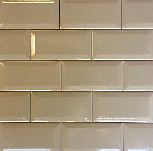 3x6 Brown Beveled Crackled Subway Ceramic Tile Backsplash Wall (8pcs)