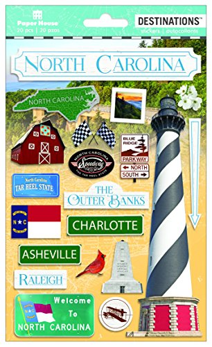 Paper House Productions Travel North Carolina 2D Stickers, 3-Pack