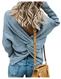 LANISEN Women Casual Crewneck Long Sleeve Loose Knit Pullover Knot Sweater Jumper Top