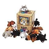 Plush Dog Pound Assortment with Carrying Box (24 bean bag stuffed animals)