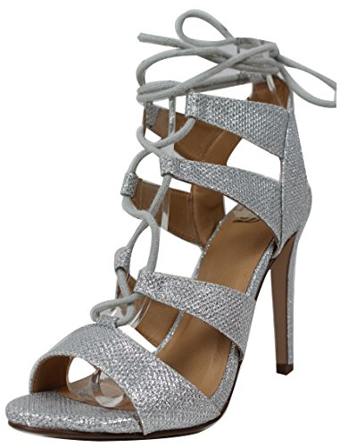 Delicious Womens Heather Gladiator Lace Up Open Toe Strappy Ankle Wrap High Heel Silver ytD5aLhJsw
