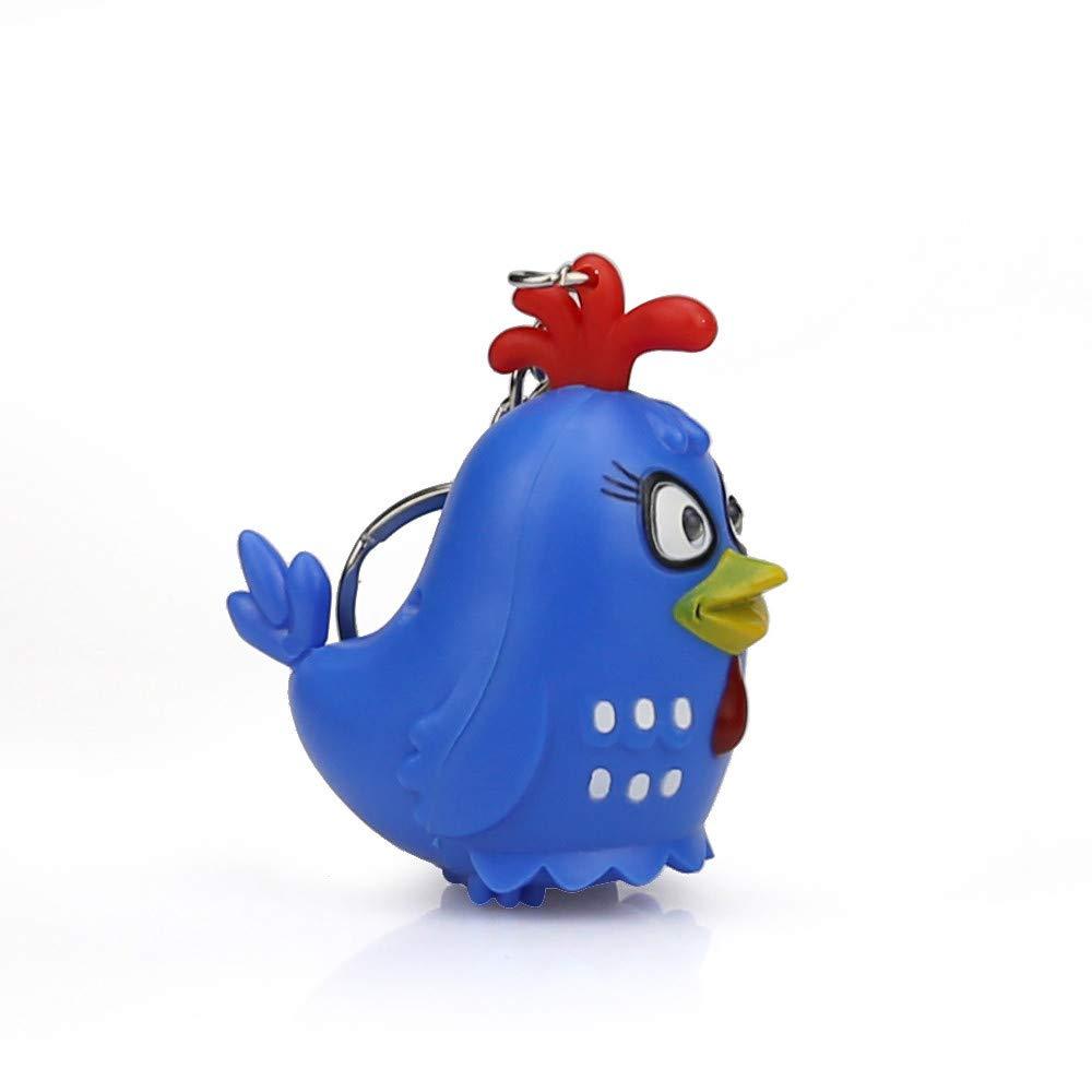 Emerayo Cute Animal Keychain Flashlight Kids Toy Gift with LED Light and Sound Keyfob (Blue Cock, One)