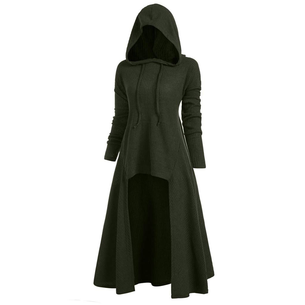 Ros1ock Women's Sweaters Plus Size Vintage Hoodies Solid Color Ruffle Long Section Cloak Coat Jackets Green by Ros1ock_Women's Tops
