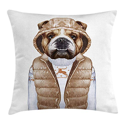 Bulldog Natural Bar Stool - Riolaops Bulldog Throw Pillow Cushion Cover, Illustration of Urban Puppy as a Human in a Down Vest and Xmas Sweater, Decorative Square Accent Pillow Case, 18 X 18 Inches, Pale Brown Baby Blue