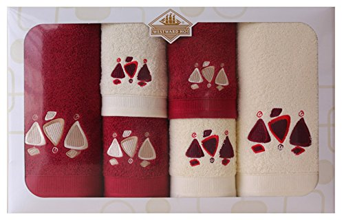 Westward Ho! Earth Embroidery Box Towel, Cream/Bordeaux by Westward Ho!