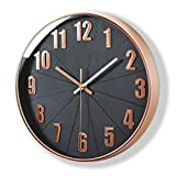 Rose Gold Wall Clock, Lucor Silent Non Ticking - 12 Inch Quality Quartz Battery Operated Round Easy to Read Modern Clock for Kitchen Home Office (Plastic Frame, Black Dial, 3D Numbers Display)