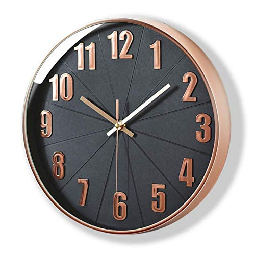 Rose Gold Wall Clock, Lucor Silent Non Ticking - 12 Inch...