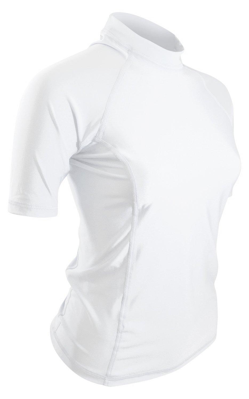 Goddess Rash Guards Swim Shirt for Women - USA Made Swim & Workout Shirt. UV Sun Protection for Everyday Workouts & Outdoor Fun. (White, 3XL)