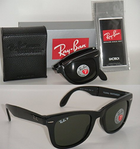 RAY BAN RB 4105 601/58 50mm Wayfarer Folding Black Frame with Green Polarized - Ray Ban 4105 Wayfarer Folding