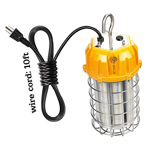(High Power 125 Watt Temporary High Bay LED Work Light, 18,125Lm Daylight, Stainless Steel Guard, (600W HID/HPS Replacement) Plug-n-Play Instant Use for Job Sites and Construction)
