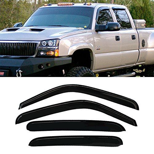 IINAWO Front + Rear Smoke Sun/Rain Guard Vent Shade Window Visors Fit 00-06 Chevy Suburban 02-06 Avalanche 00-06 GMC Yukon XL 02-06 Cadillac Escalade ESV/EXT 01-06 Silve 4pcs