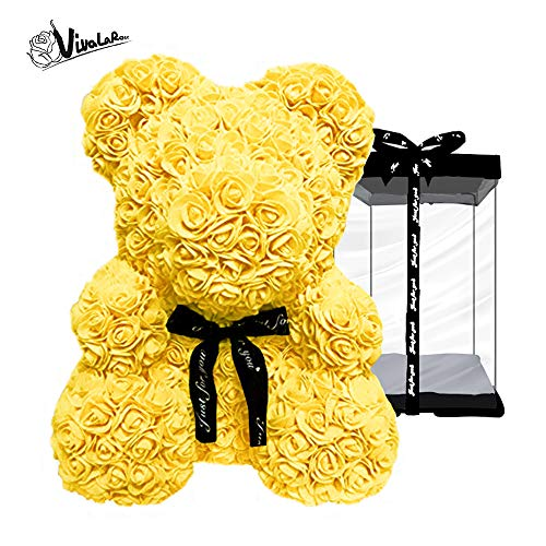 - Rose Teddy Bear with Forever Artificial Rose Bouquet|Best Gift|Holiday, Valentine, Anniversaries, Birthdays, Wedding|Yellow Rose, 16''