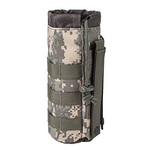 Outdoor Gear Mesh Flask Bag Drawstring Water Bottle Pouch Molle Water Bottle Attachment ACU CP camouflage Tactical Hiking Camping (ACU)