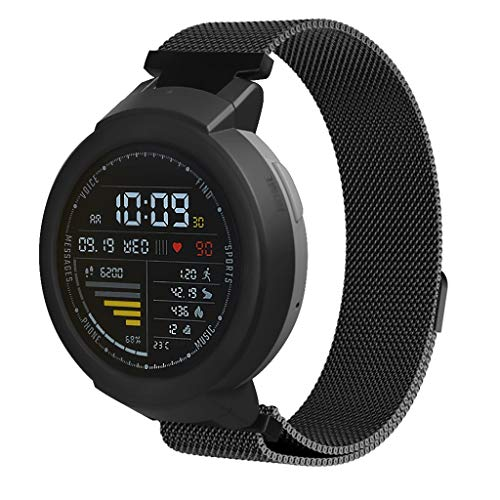 certainPL Bands for Amazfit Verge Youth Watch A1808, Stainless Steel Milanese Wrist Loop with Magnetic Closure Replacement Band Strap Compatible Huami Amazfit Verge Youth Watch A1808 (Black)