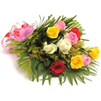 Floralbay Mix Roses Fresh Flowers in Cellophane Wrapping (Bunch Of 10)