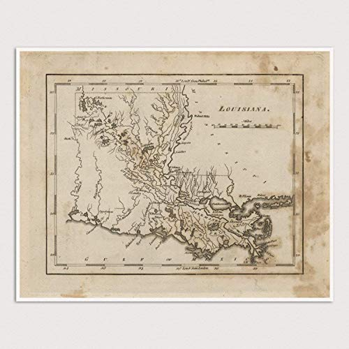 image regarding Printable Map of Louisiana referred to as : Previous Louisiana Map Artwork Print, 1816, Archival