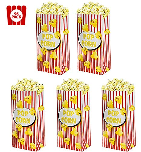 Kicko 96 Pieces Popcorn Paper Bags 5 X 3.25 X 10 Inch Classic Old Fashioned Red and White Stripes - Great for The Movies, Food Kiosk, Food Stand, Ice Cream Truck and Shop, Street Fairs Etc. -