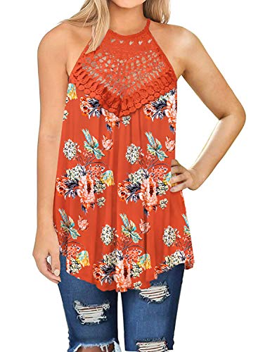 - Womens Loose Tank Tops Halter Summer Sexy Casual Shirts Floral Clothing Orange M