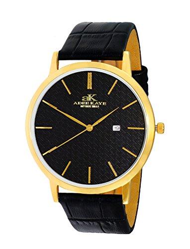 Adee Kaye Men's Stainless Steel Japanese-Quartz Watch with Leather Strap, Black, 22 (Model: AK3331-MG/BK