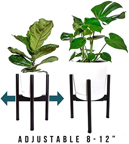 Mid Century Plant Stand - Plant Stands Indoor - Adjustable Plant Stand for 8 Inch to 12 Inch Planter - Bamboo Black ()