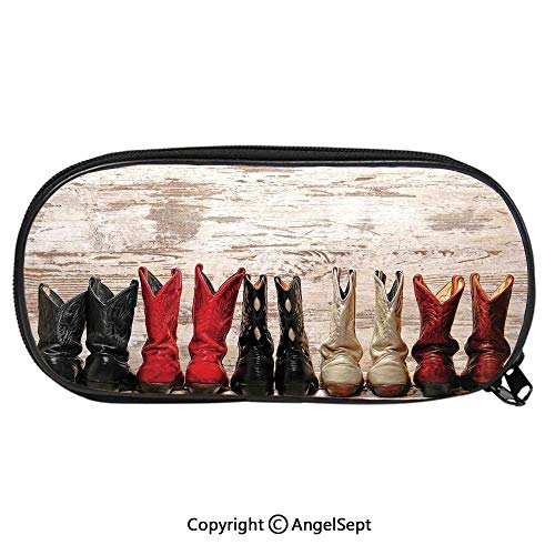 - Unisex Student Pencil Case Pen BoxAmerican Legend Cowgirl Leather Boots Rustic Wild West Theme Folkart Print Stationery Bag Cartoon Pouch Bags with Double Zippered for Girls BoyBeige Red Black