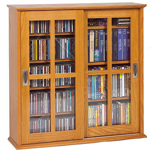 Leslie Dame Mission Wall Hanging Double-Width Sliding Door CD,DVD Multimedia Cabinet in Oak ()