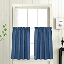 "Waffle-Weave Tier Curtains for Kitchen Water Repellent Bathroom Curtain Panels (72"" x 24"", Royal Blue, Set of Two)"