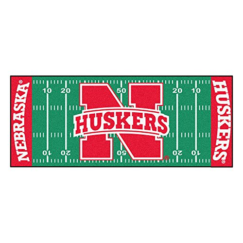 FANMATS NCAA University of Nebraska Cornhuskers Nylon Face Football Field Runner Nebraska College Rug