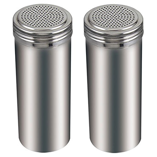(Pack of 2) 22 Oz. Stainless Steel Dredge Salt / Sugar / Spice / Pepper Shaker ()