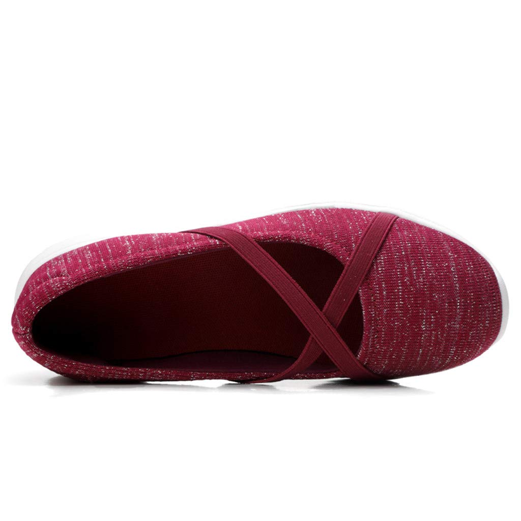 Flat Shoes for Women Casual Classic Criss Cross Round Toe Ladies Canvas Comfort Flats Wine