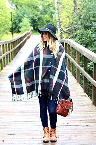 FLASH SALE - Pretty Simple Plaid Button Blanket Scarf Shawl Women's Wrap (Navy Blue)