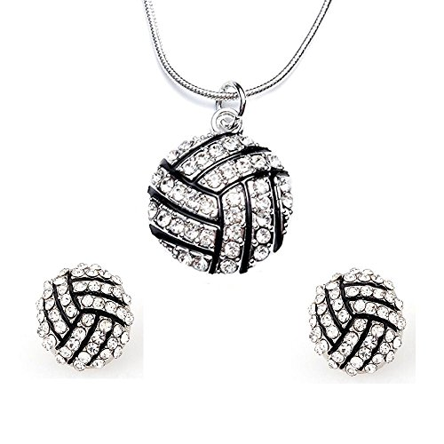 (FY Volleyball Studs Earrings Volleyball Pendant Necklace Rhinestone Crystal Sport Jewelry Set)