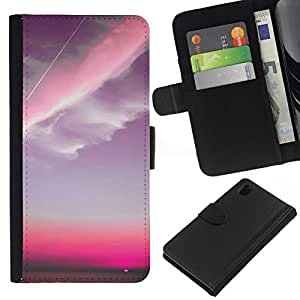 All Phone Most Case / Oferta Especial Cáscara Funda de cuero Monedero Cubierta de proteccion Caso / Wallet Case for Sony Xperia Z1 L39 // Pink Sky Plane Clouds Sunset