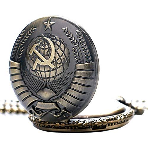 The Russia Federation Soviet Sickle Hammer Pocket Design Russia Emblem Communism Necklace Chain Case (Bezel Flag Dial)