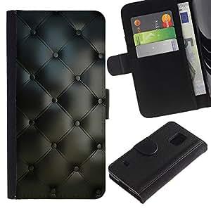 Be Good Phone Accessory // Caso del tirón Billetera de Cuero Titular de la tarjeta Carcasa Funda de Protección para Samsung Galaxy S5 V SM-G900 // Material Textile Design Grey Interior Buttons