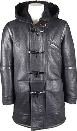 Unicorn Men's Real Leather Hooded Sheepskin Duffle Coat Black #GR (Unicorn Men Leather Jacket)